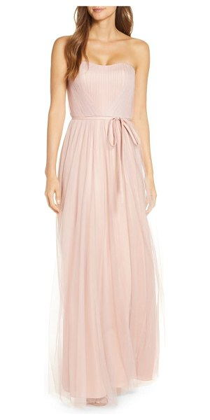 Notte by Marchesa strapless tulle bridesmaid gown in blush