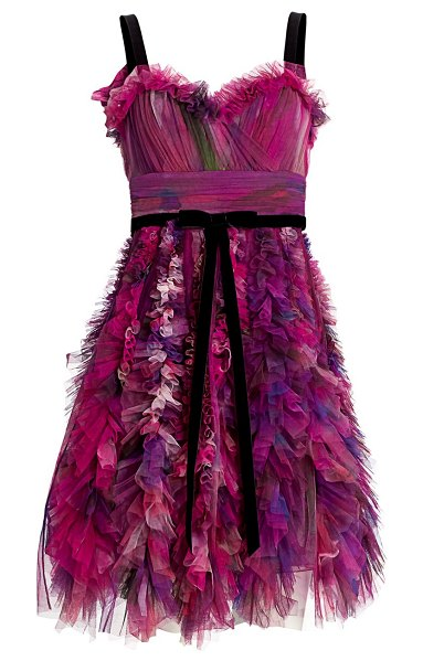 Notte by Marchesa textured tulle mini a-line cocktail dress in plum