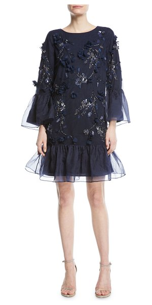 NOTTE BY MARCHESA Tunic-Cut Cocktail Dress With 3d Flowers & Organza ...