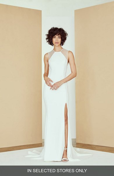 nouvelle AMSALE archer mesh panel sheath wedding dress