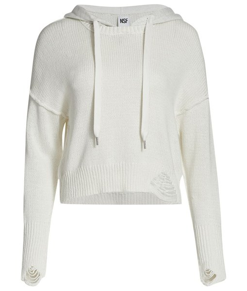 NSF silva knit hoodie in soft white light heather