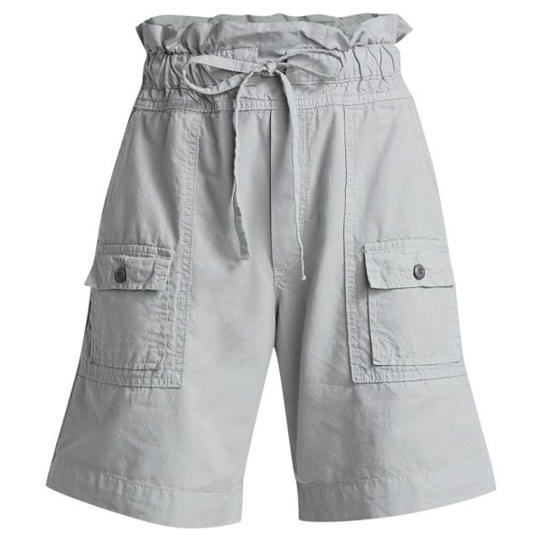 NSF troy high-rise shorts in pale grey