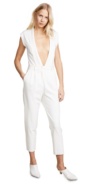 34c4f1016a0 NUDE tuta jumpsuit in white - Fabric  Slinky jersey Raw hems Pleated Belt  loops.