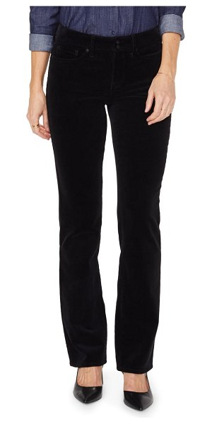 NYDJ marilyn double snap waist straight leg jeans in black