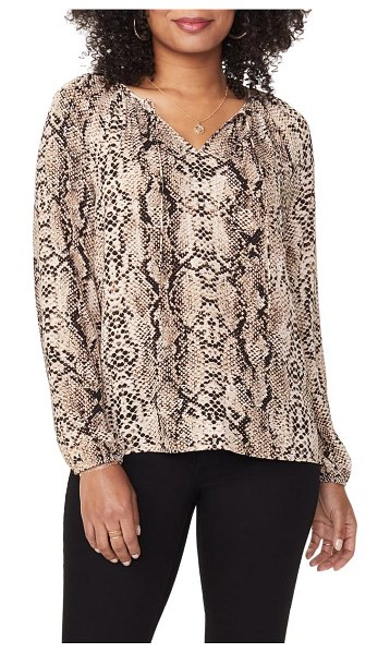 NYDJ snake print peasant blouse in victorian python taupe