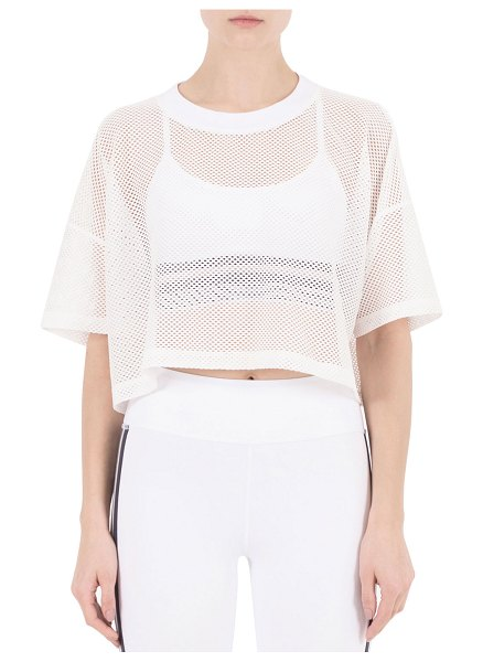 Nylora Lissy Short-Sleeve Mesh Crop Top in white