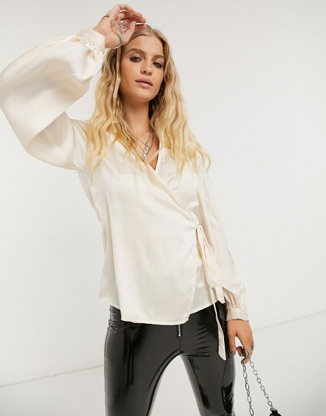 Object satin wrap blouse with volume sleeves in champagne-pink in pink