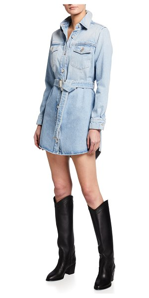 OFF-WHITE Arrow Denim Belted Shirtdress in blue multicolor