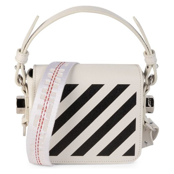 OFF-WHITE baby diagonal flap leather crossbody bag in white