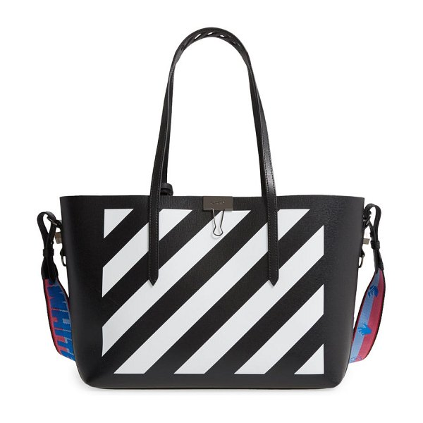 OFF-WHITE binder clip diagonal stripe leather shopper in black white