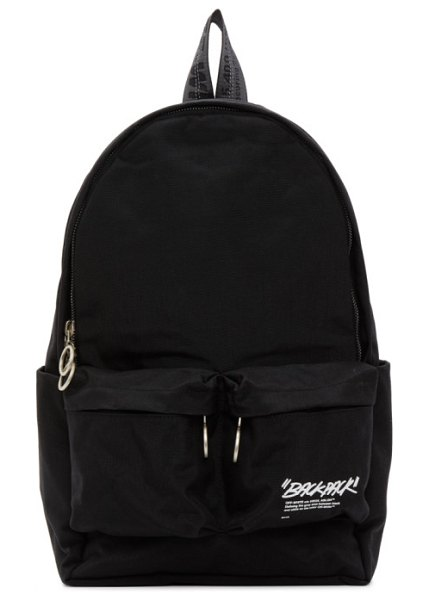 OFF-WHITE black quote backpack in black,white