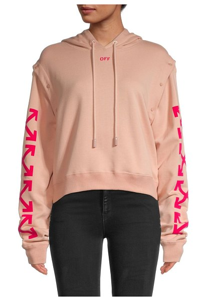 OFF-WHITE Convertible Arrow Cotton Hoodie in pink