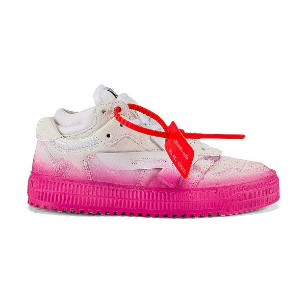 OFF-WHITE degrade 3.0 low sneaker in white & fuchsia
