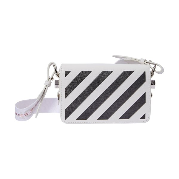 OFF-WHITE Diag Flap mini shoulder bag in white / black
