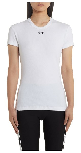 OFF-WHITE fitted tee in white black