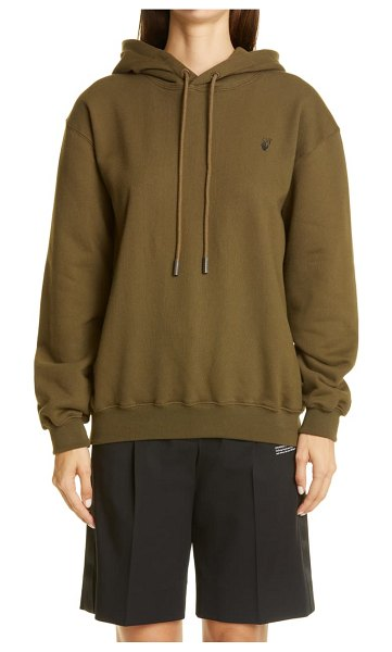 OFF-WHITE flocked floral arrows hoodie in military green