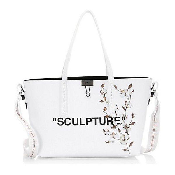 OFF-WHITE flower leather shopper tote in white - Signature quotes graphic lettering and floral imagery...