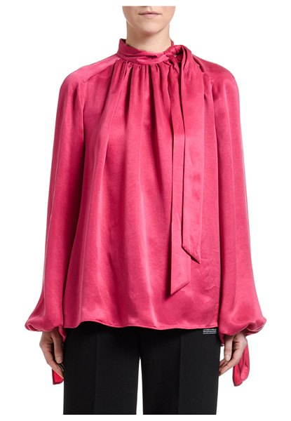 OFF-WHITE Flowing Satin Full-Sleeve Tie-Neck Blouse in fuchsia