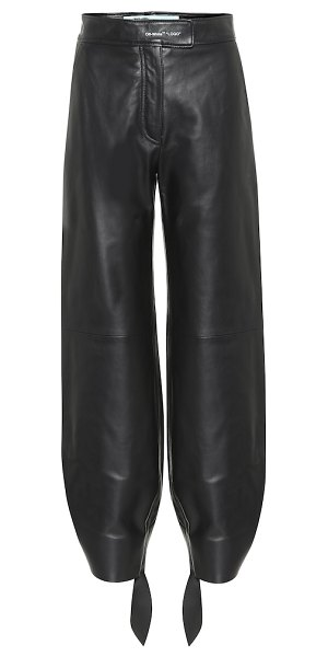 OFF-WHITE high-rise leather pants in black