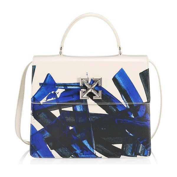 OFF-WHITE jitney 4.3 brushstroke leather top handle bag in white blue