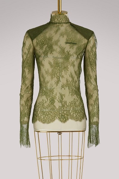 OFF WHITE Lace top in green military