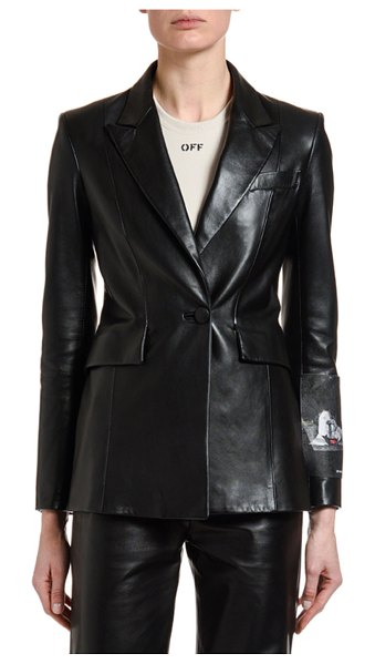 OFF-WHITE Leather Patch-Sleeve Fitted Blazer in black