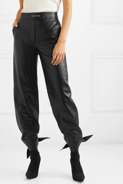 OFF-WHITE leather tapered pants in black