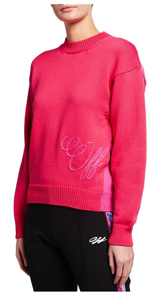 OFF-WHITE Logo Embroidered Colorblock Sweater in red fuchsia