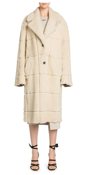 OFF-WHITE Long Shearling Coat in ivory