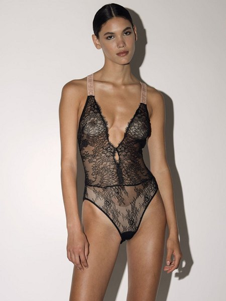OFF WHITE Lvr exclusive lace one piece bodysuit in black