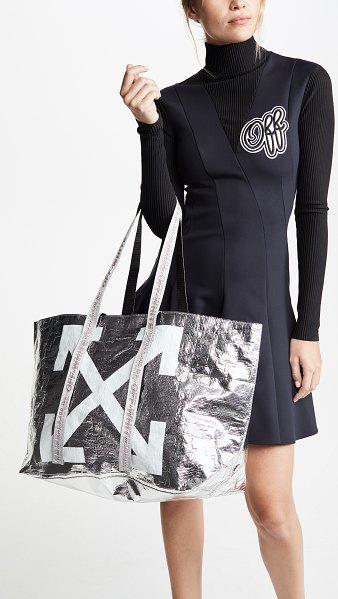 OFF-WHITE new commercial tote bag in silver/white