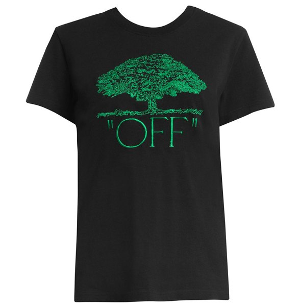 OFF-WHITE off tree casual tee in black green