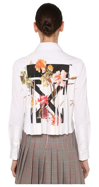 OFF-WHITE Pleated floral print cotton shirt in white