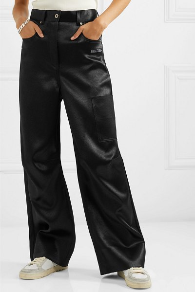 OFF-WHITE printed duchesse-satin pants in black