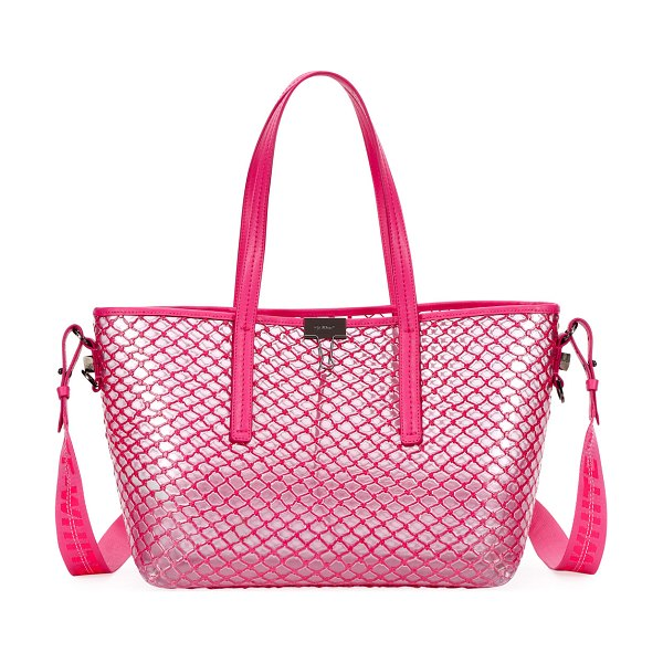 OFF-WHITE PVC Net Shopper Tote Bag in fuchsia - Off-White net and PVC shopper tote bag with leather...