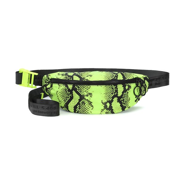 OFF-WHITE python-printed belt bag in green - Off-White's belt bag has been crafted in Italy from...