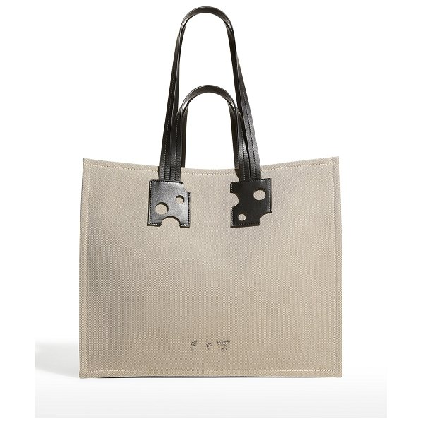 OFF-WHITE Repeat Shopping Tote Bag in brown
