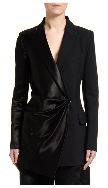 OFF-WHITE Satin Wrapped Formal Blazer Jacket in black
