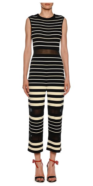 OFF-WHITE Sleeveless Striped Jumpsuit in black/white - Off-White jumpsuit in striped knit, featuring sheer...