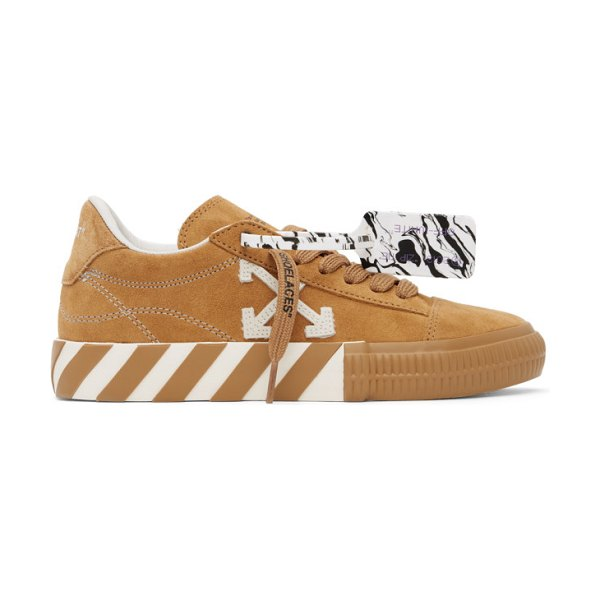OFF-WHITE tan suede vulcanized low sneakers in orange white