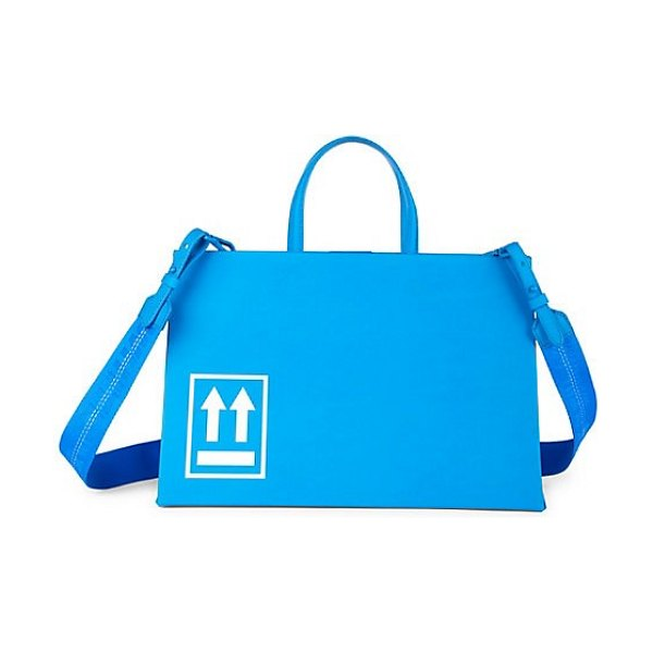 OFF-WHITE virgil was here coated tote in blue - Leather tote bag flaunting a signature binder clip and...