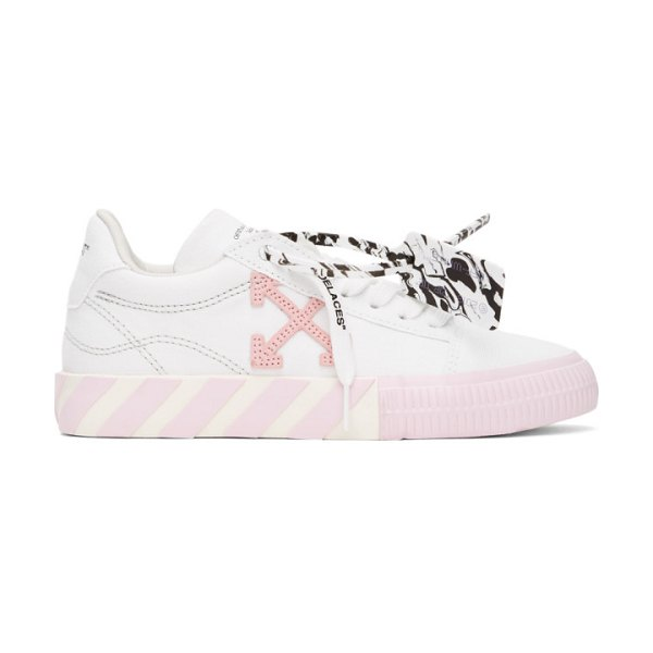 OFF-WHITE white and pink vulcanized low sneakers in white pink