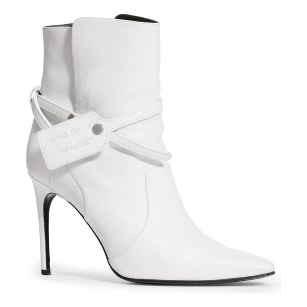 OFF-WHITE zip tie pointed toe bootie in white no color