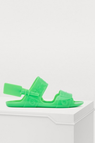 OFF WHITE Zip tie sandals in green - Off-White brings you these avant-garde zip tie sandals....