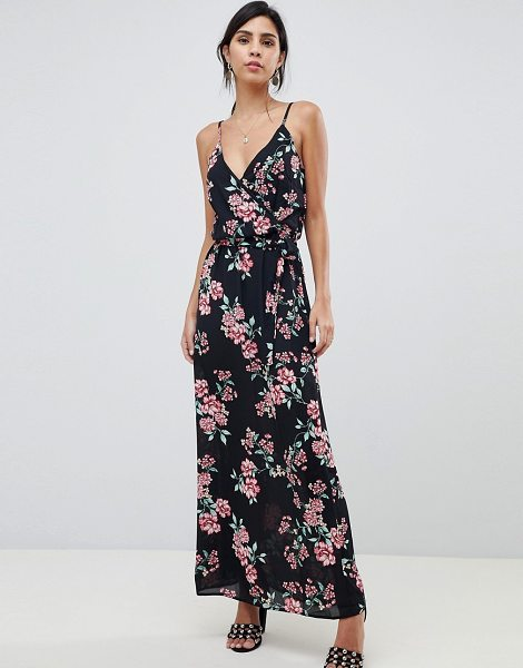 Oh My Love Wrap Front Printed Maxi Dress In Black Shopstasy