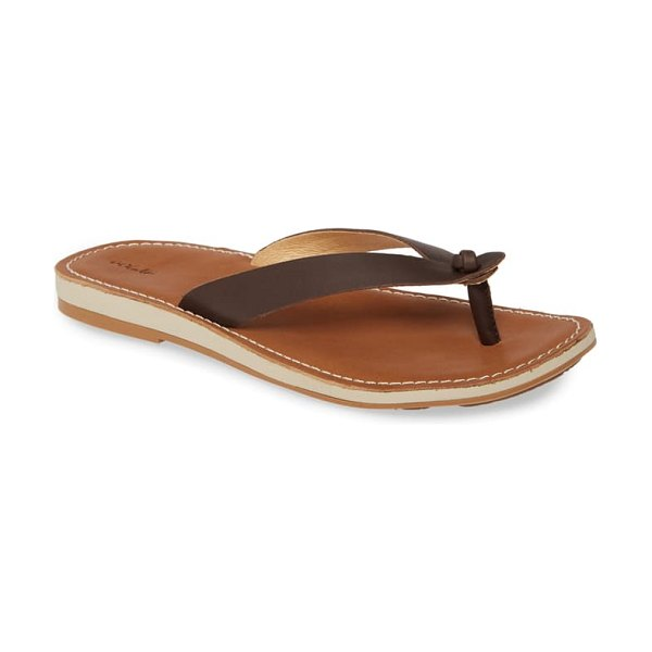 OluKai nohie flip flop in dark java leather