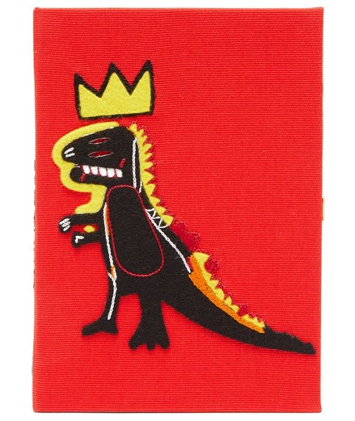 Olympia Le-Tan basquiat 'pez dispenser' embroidered book clutch in red multi