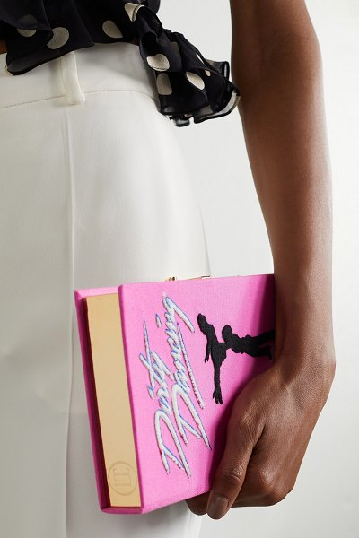 Olympia Le-Tan dirty dancing embroidered appliquéd canvas clutch in pink