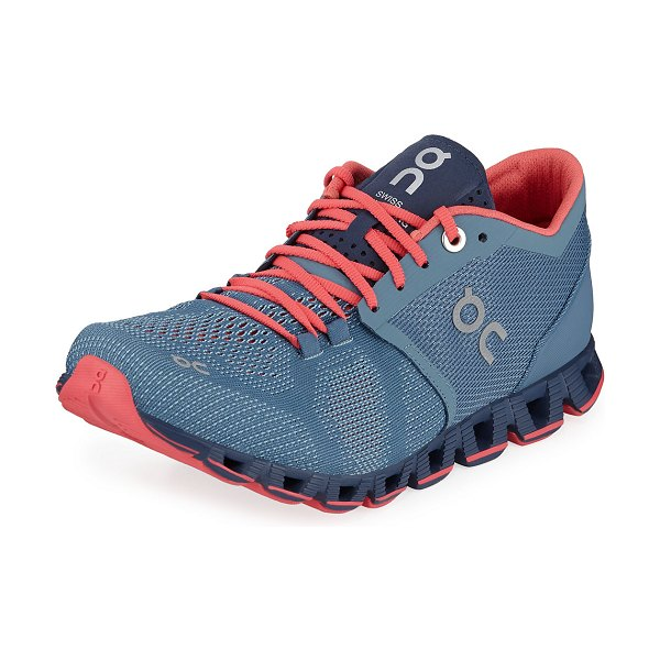 On Cloud X Knit Two-Tone Running Sneakers in blue