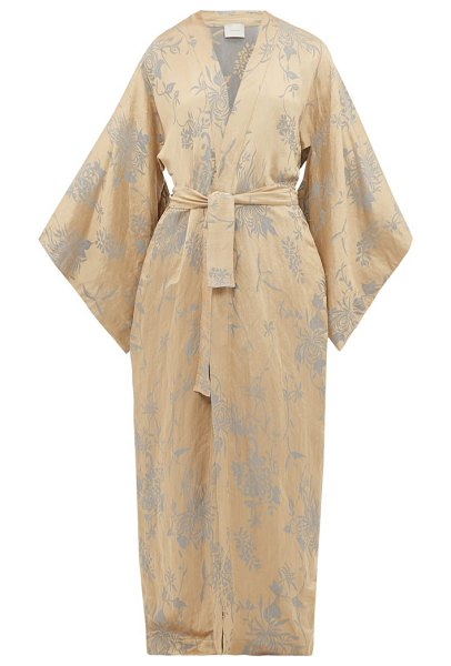 On The Island By Marios Schwab heimaey linen-blend jacquard robe in gold